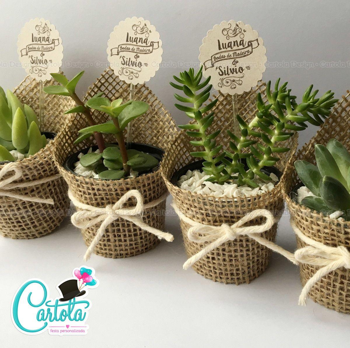Lembrancinha de casamento suculentas e cactos uma frase necess ria e personalizado - Plantas pequenas para regalar boda ...