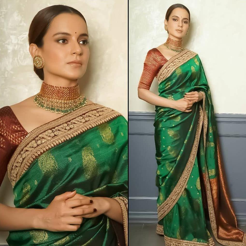 Kangana wearing green saree
