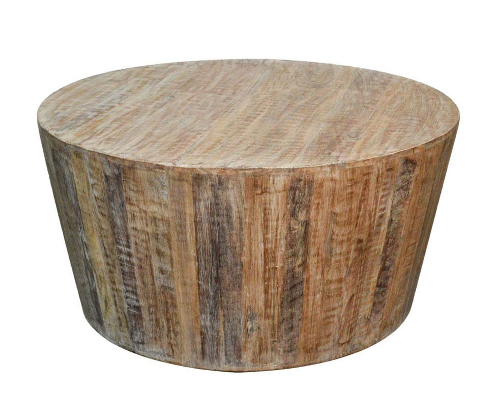 Distressed white reclaimed round tapered sides coffee table this distressed white rustic reclaimed solid wood coffee table will add an eye catching style to your living room reclaimed wood is arranged in a striking geotapseo Image collections