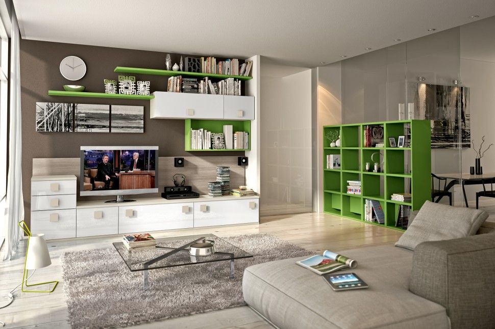 Living-room : Living Room Wall Tv And Storage Unit In White And Green Color  Paint With Low Console Cabinet