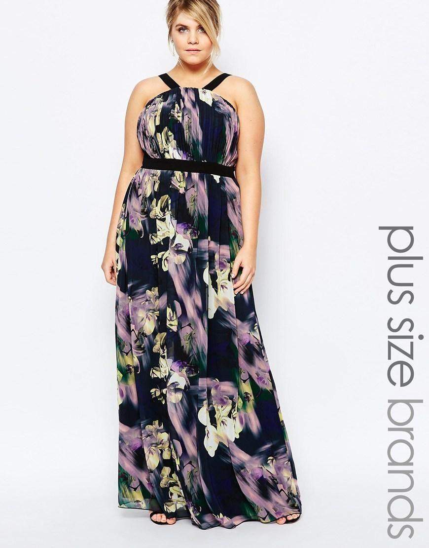 Little Mistress Plus | Vestido largo con estampado floral llamativo ...