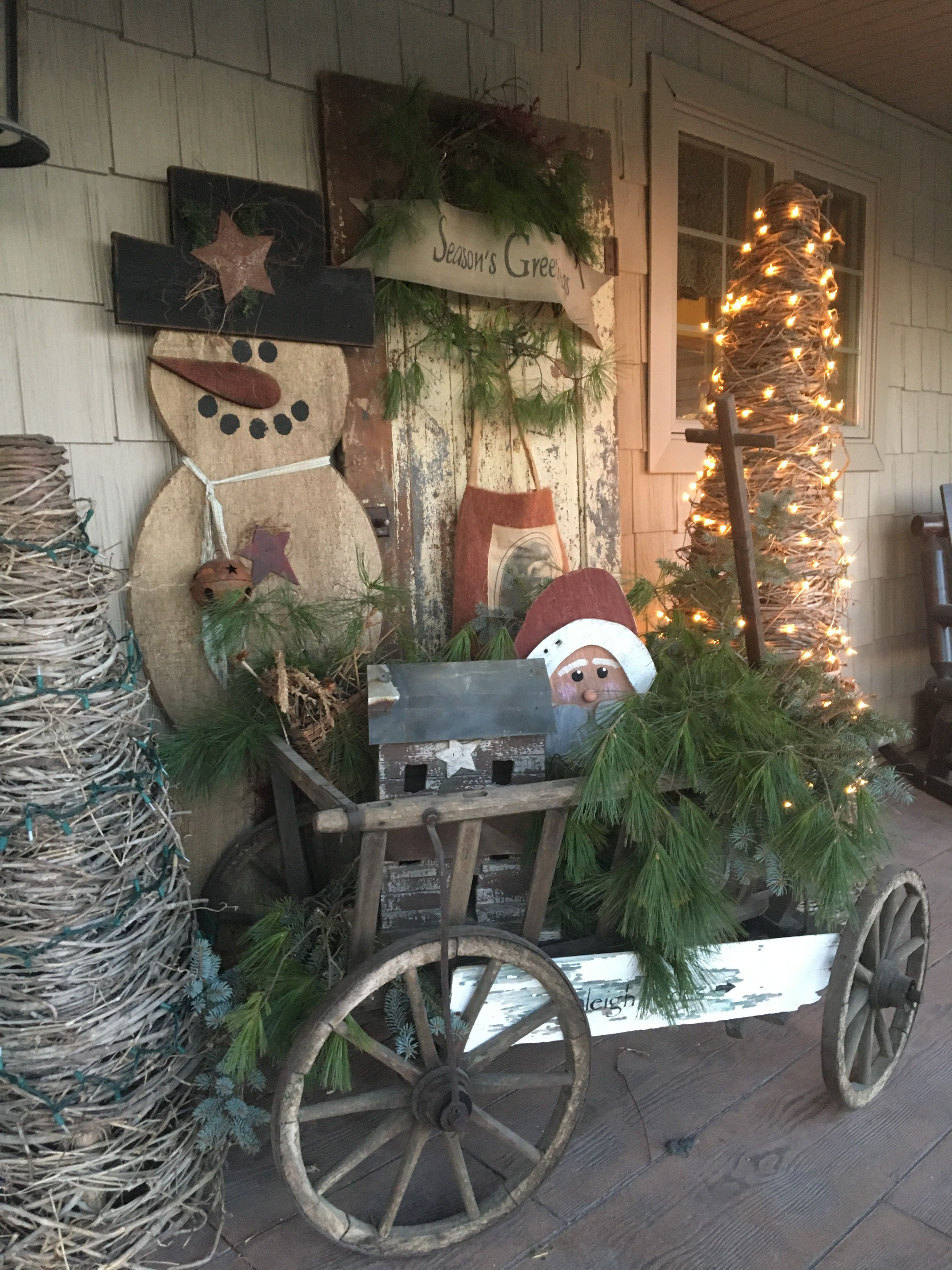 Goat Wagon At Christmas Primitive Christmas Decorating Christmas Porch Decor Pretty Christmas Decorations