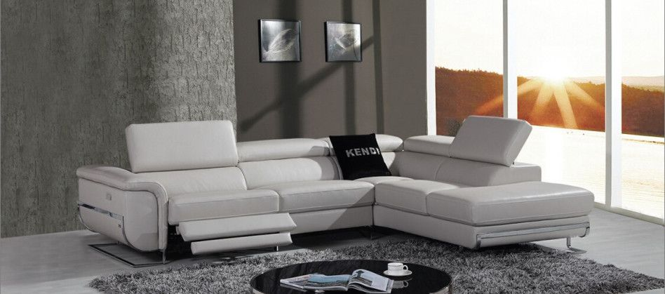 Modern Grey Sofa, Divani Casa E9054 Modern Grey Leather Sectional ...