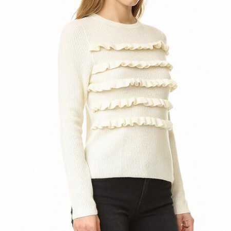Chic ruffle sweater for women plain white ribbed knit sweaters ...