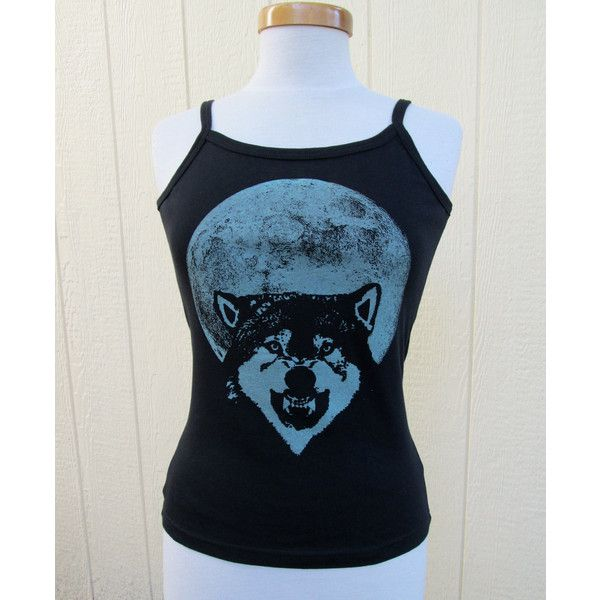 Glow in the Dark Wolf and Full Moon Screenprint Spaghetti Strap Tank... ($24) ❤ liked on Polyvore featuring tops, dark olive, tanks, women's clothing, olive green tank top, jersey tank, unisex tank tops, blue top and glow in the dark shirts