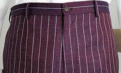 Flat front pants in wool/linen/silk blend.