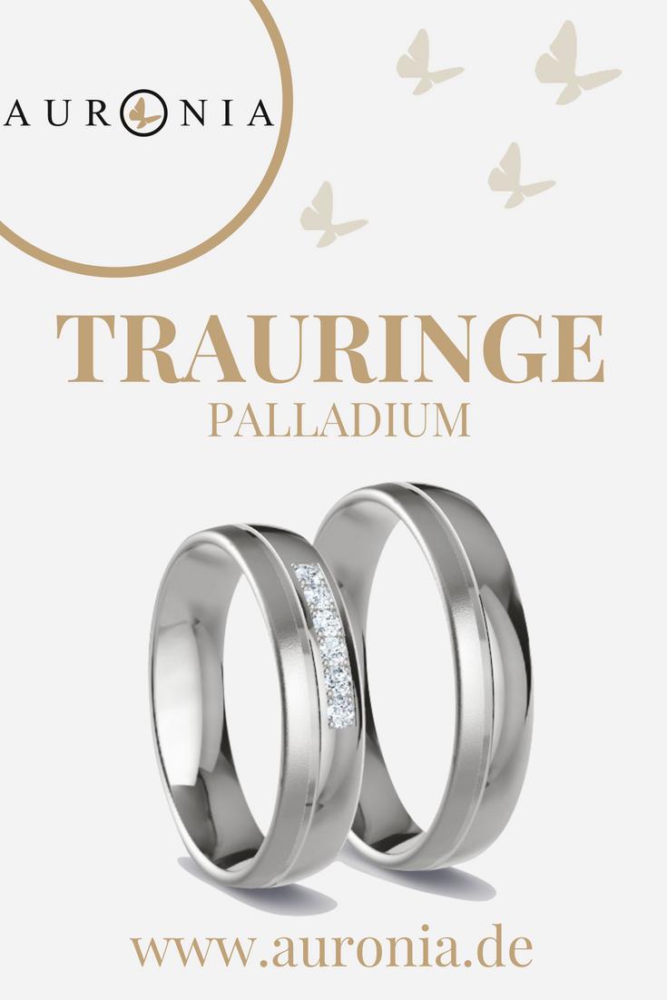 Trauringe Palladium mit Stein, schlicht, matt, poliert. Passende