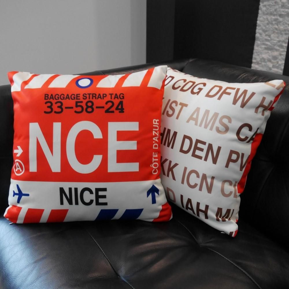 Photo of NCE Nice France Throw Pillow • Airport Code & Vintage Baggage Tag Design