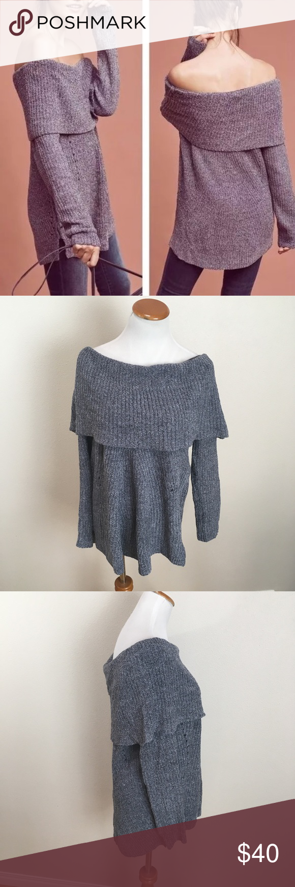 Anthro MOTH Off Shoulder Lucerne FoldNeck Sweater | Lucerne, Moth ...
