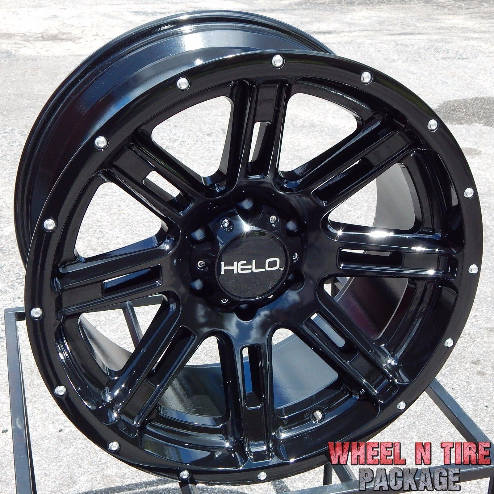 20x10 BLACK HELO HE900 WHEELS RIMS CHEVY SILVERADO TAHOE GMC SIERRA