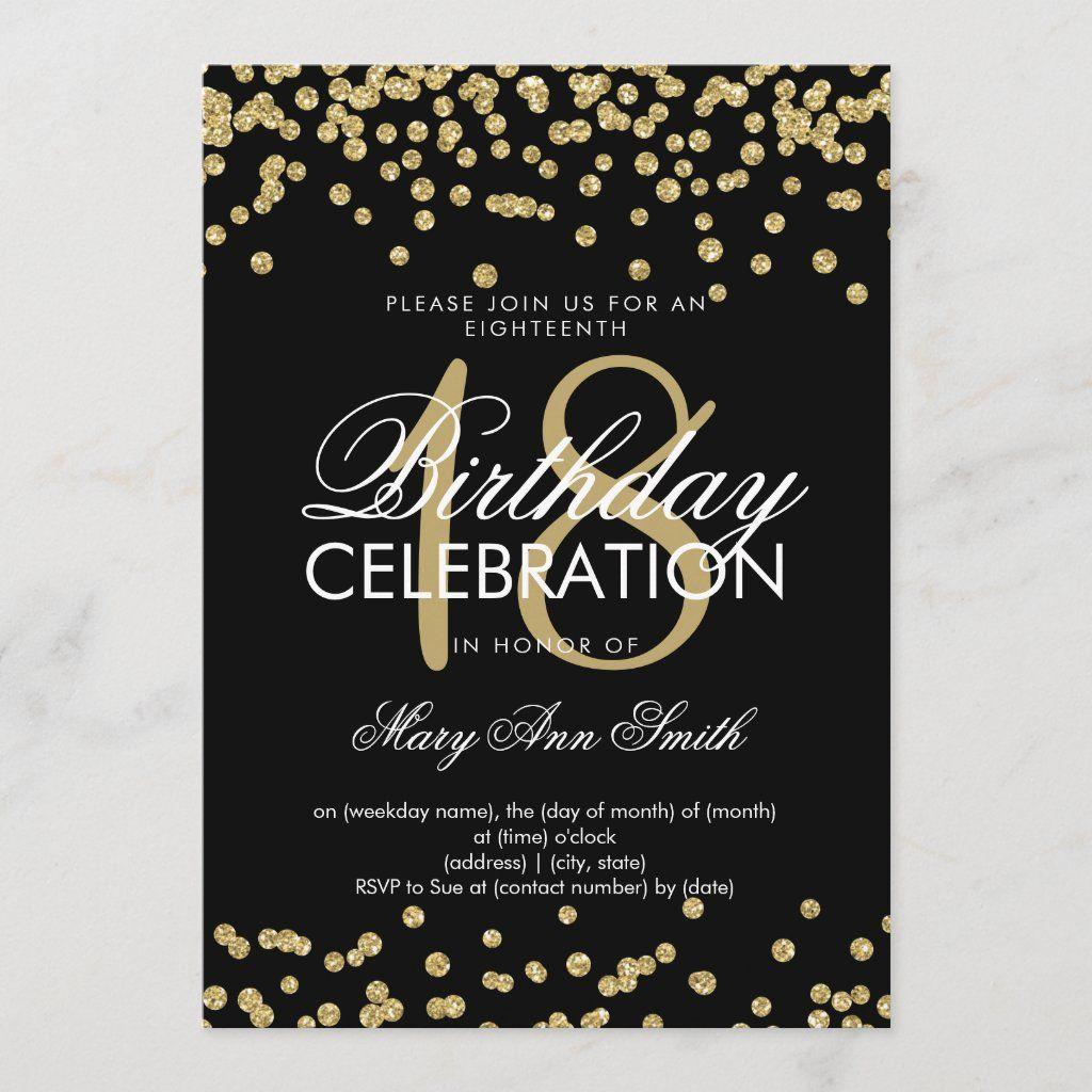 Elegant 18th Birthday Gold Glitter Confetti Black Invitation Zazzle Com Rose Gold Glitter Confetti Confetti Invitation Birthday Invitations Girl