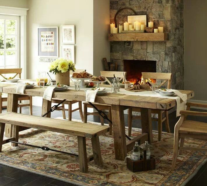Love The Rustic Table With Bench For One Side With Images Reclaimed Wood Dining Table Wood Dining Table Dining Room Table