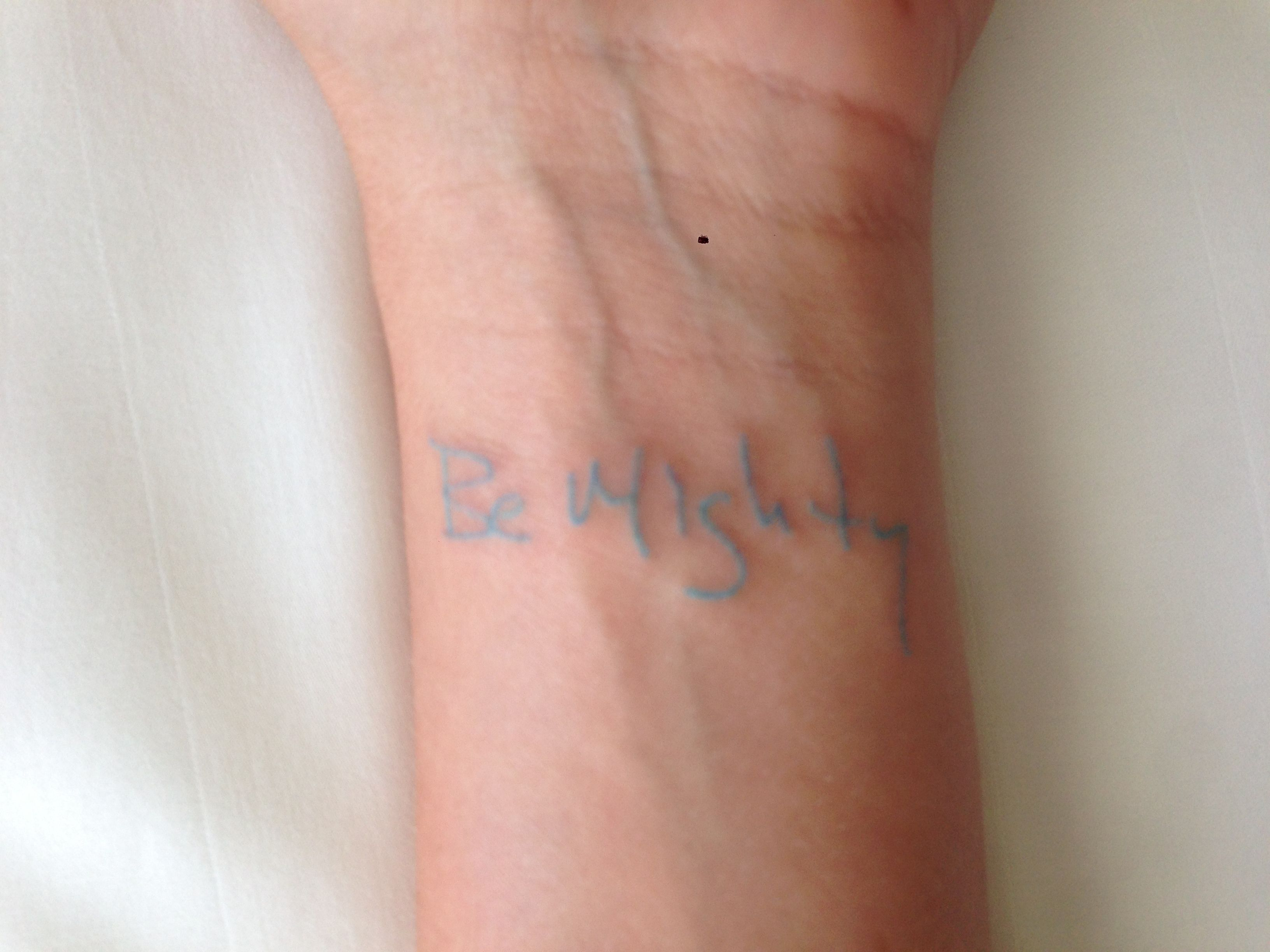 Wrist Tattoo In Light Blue Ink Instead Of Words It Would Be A