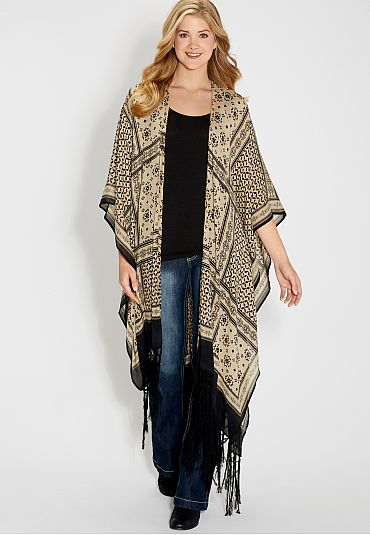 oversized ruana wrap with fringe (original price, $39) available at #Maurices