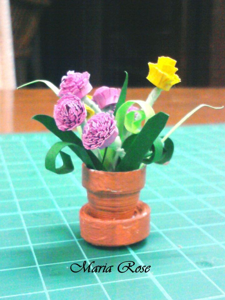Цветы квиллинг в горшочках пошаговое фото