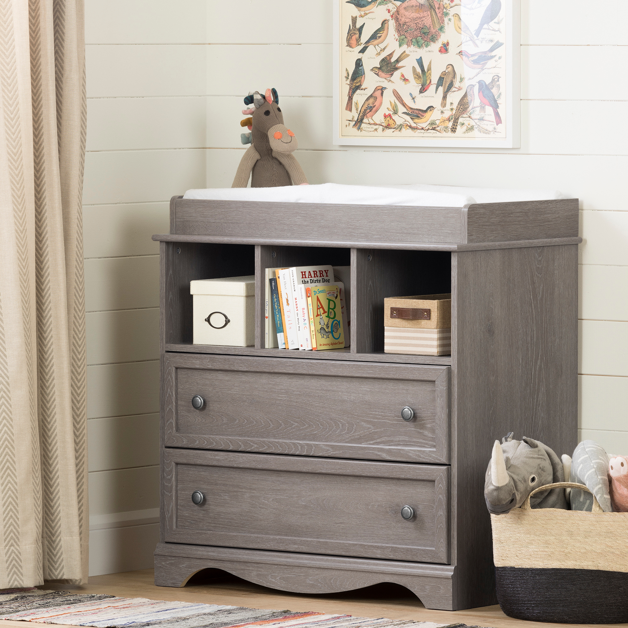 South Shore Savannah Changing Table With Drawers Sand Oak