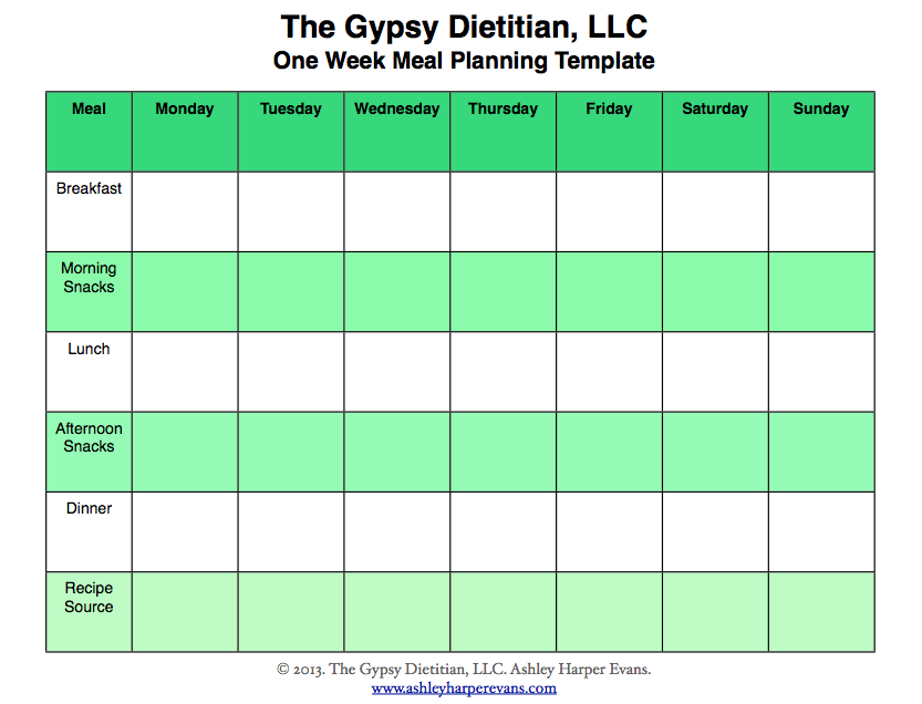 Weekly Meal Planning Template  Cleanliness Is Next To Godliness