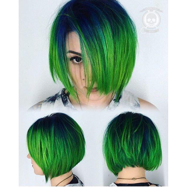 Green hair color hair painting and messy bob hair cut by Rickey Zito. hotonbeauty.com