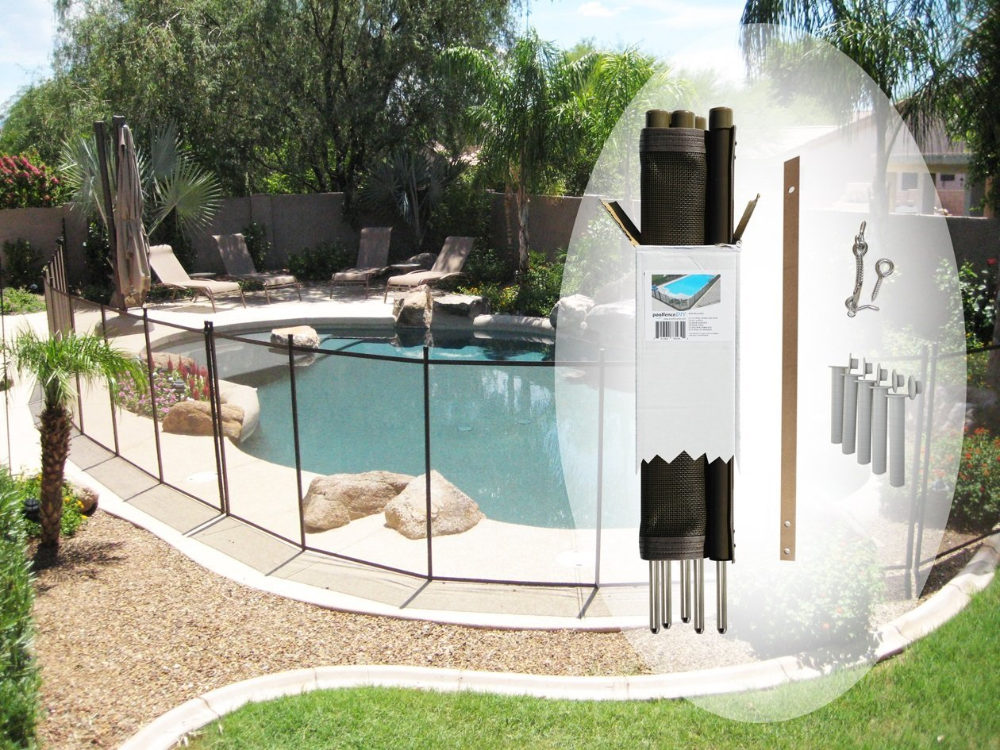 5 Ft H X 12 Ft W Pool Fence Diy Section In Brown With 5 Poles Featuring A Steel Pin At The Base For A 1 2 In Hole Pool Fence Diy