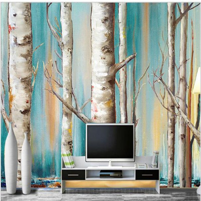 Custom 3d Mural Wallpaper Modern White Birch Trees Oil Painting Tv Rhpinterest: Paintings For Living Room With Birch Trees At Home Improvement Advice