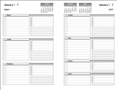 2 Page Weekly Calendar Template