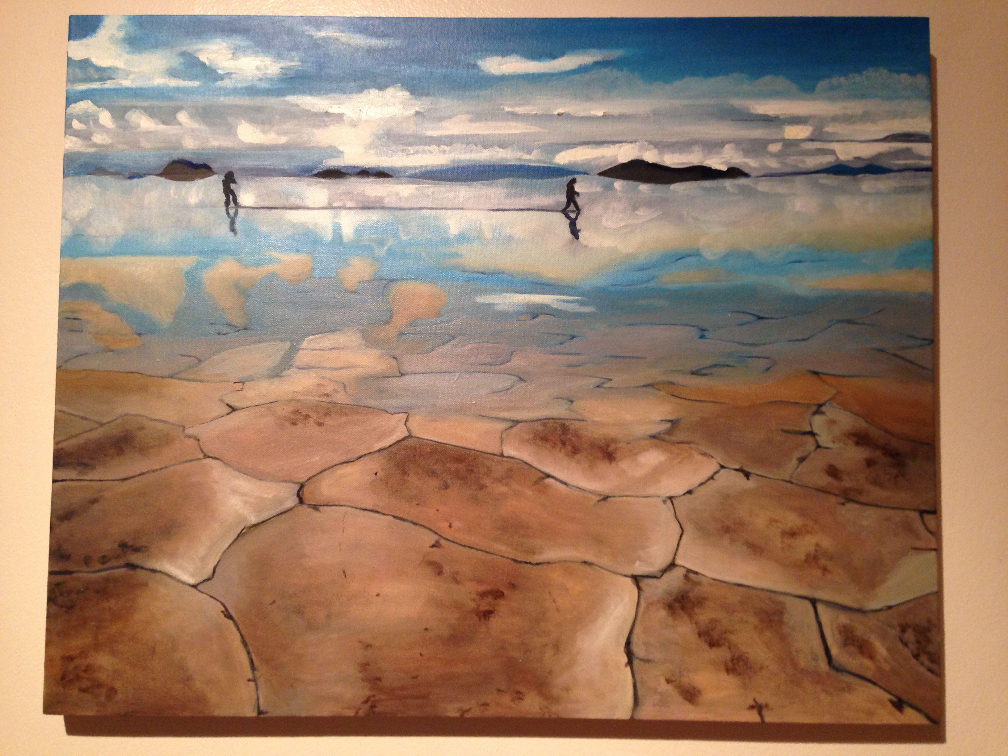 Salt lake, Bolivia by Charmaine Lim (acrylic on canvas)