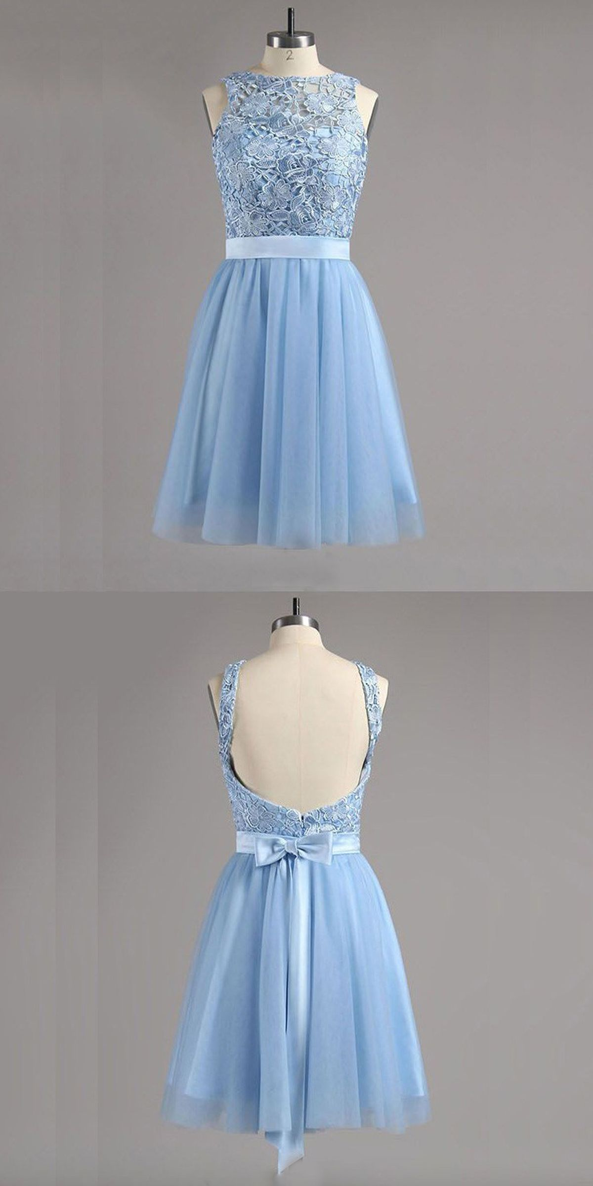 Aline bateau backless blue tulle homecoming dress with lace bowknot