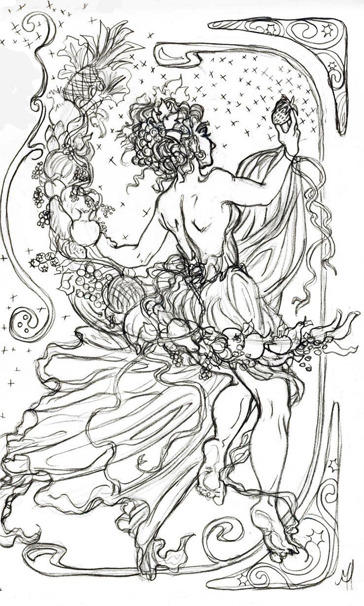 art nouveau fruit moon by vengethenian deviantart art