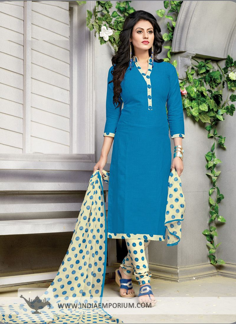 Alluring Blue & #Beige #Plain #Printed #Churidar #Suit   Beautiful ...