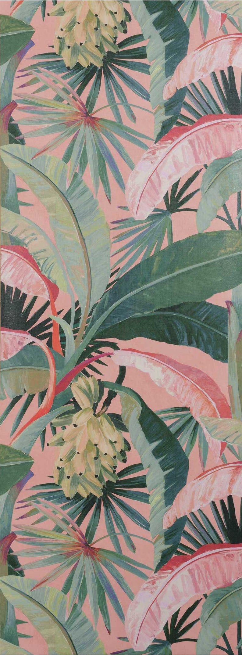 La Palma wallpaper/ wallcovering - feature wall - tropical palm tree wallpaper - banana leaves leaf jungle Hollywood green exotic