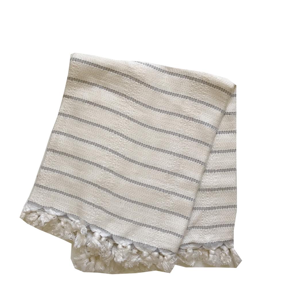 Image Of Bamboo Turkish Hand Towel Grey Stripe Hand Towels
