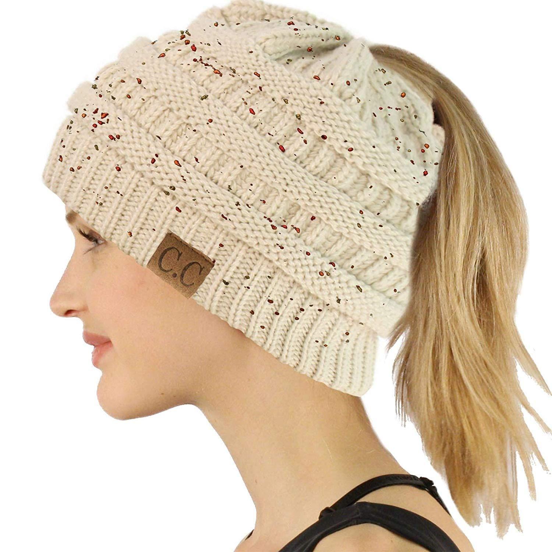 1b6c1e155dc666 CC Ponytail Messy Bun BeanieTail Soft Winter Knit Stretchy Beanie Hat Cap