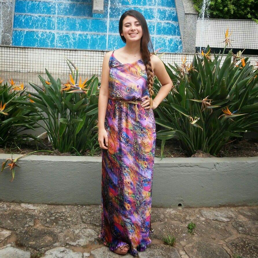 Dress  long longdress color trança vestido longo summer Love flower flor Paradise Young