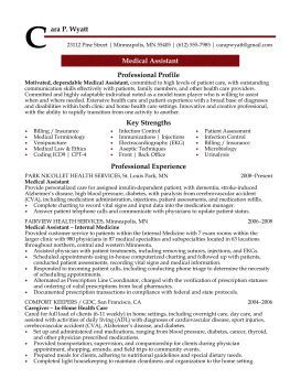 Resume For Medical Assistant Professional Resume Cover Letter Sample  Medical Assistant