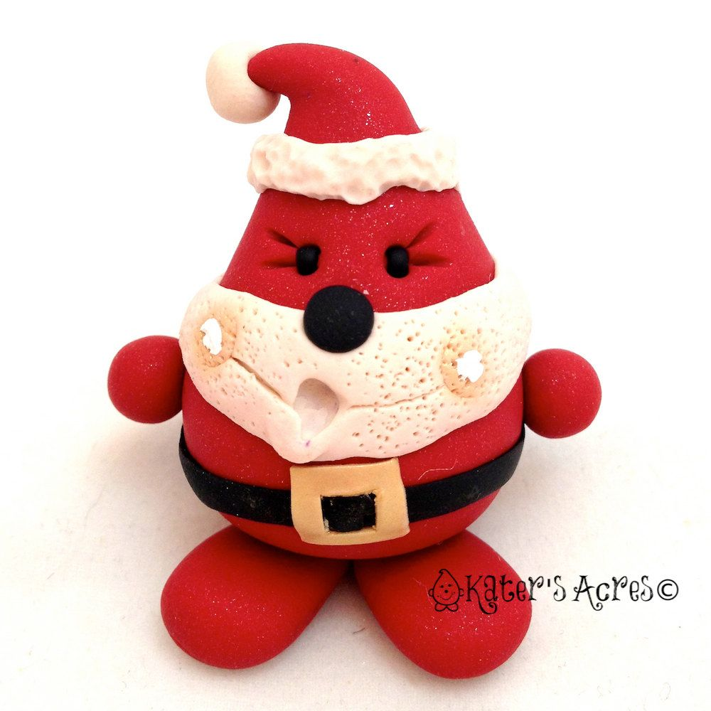 Christmas santa parker polymer clay character tree ornament or