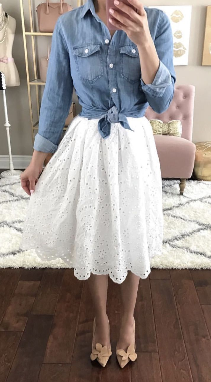 Denim top with white lace skirt. Love this outfit for spring! Classy and Chic Style. Modest. Church Wear. #modestfashion