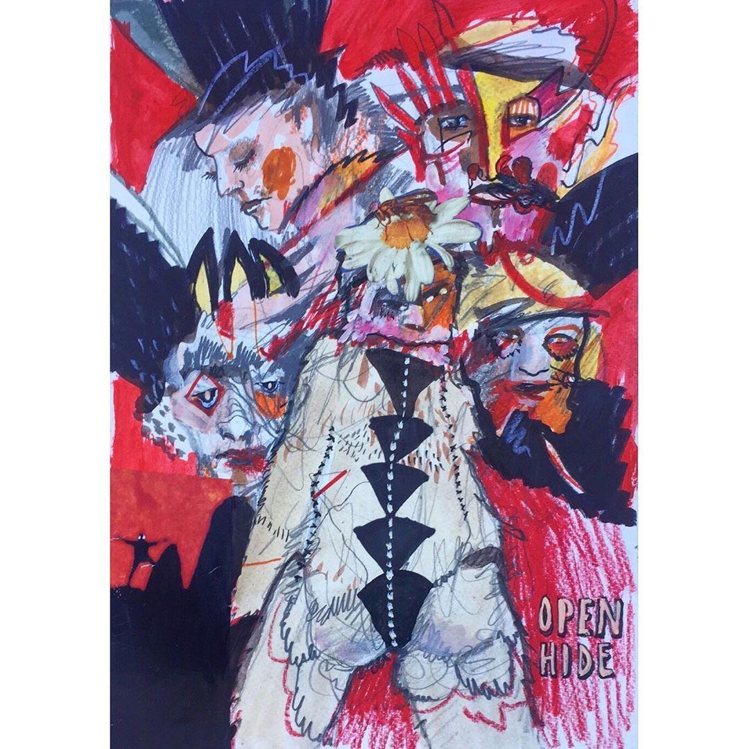 'Open Hide' . #draw #drawing #paint  #collageart  #visualart #contemporaryart #p... ,  #artcollab #australianart #collaborativeart #collaborativecollage #collaborativepainting #collageart #contemporaryart #draw #drawing #hide #kristianglynn #mailart #melbourneart #mixedmedia #mixedmediaart #natashawills #open #paint #portrait #postal #Postcard #postcardart #postcardart #snailmail #toowoombaart #trashish #visualart