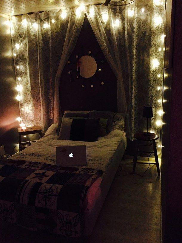 lit, chambre à coucher, bohème, boho, commode, fée, indie, amour ...