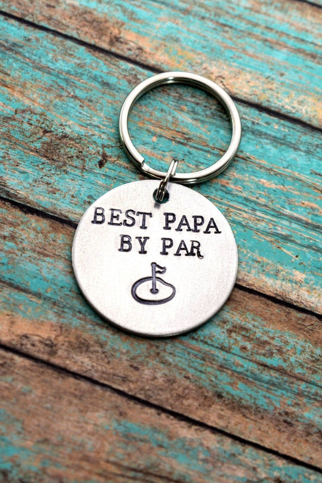 Best papa by par hand stamped golf keychain fathers day
