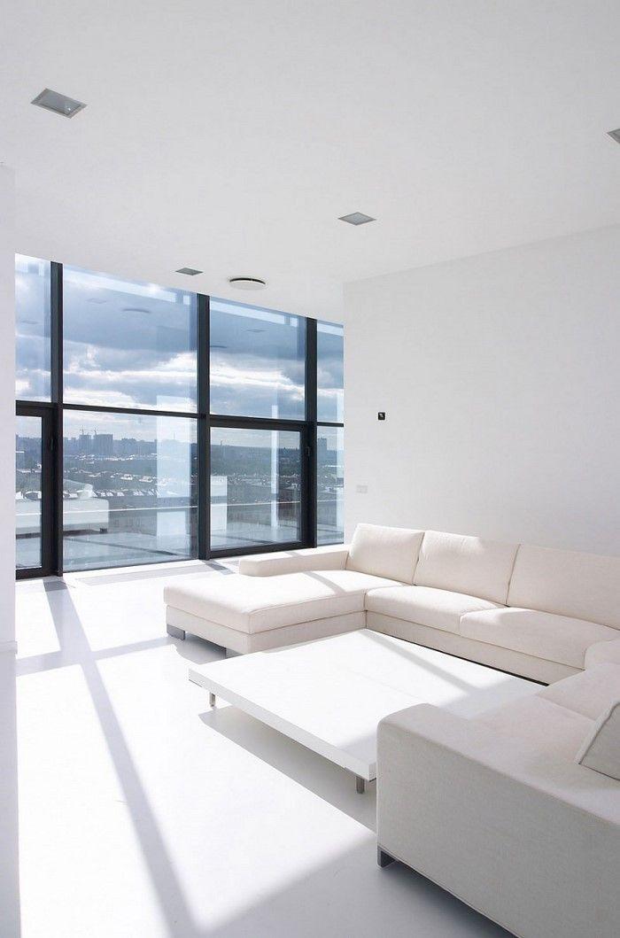 Wohnzimmereinrichtung In Weiß Eine Moderne Deko