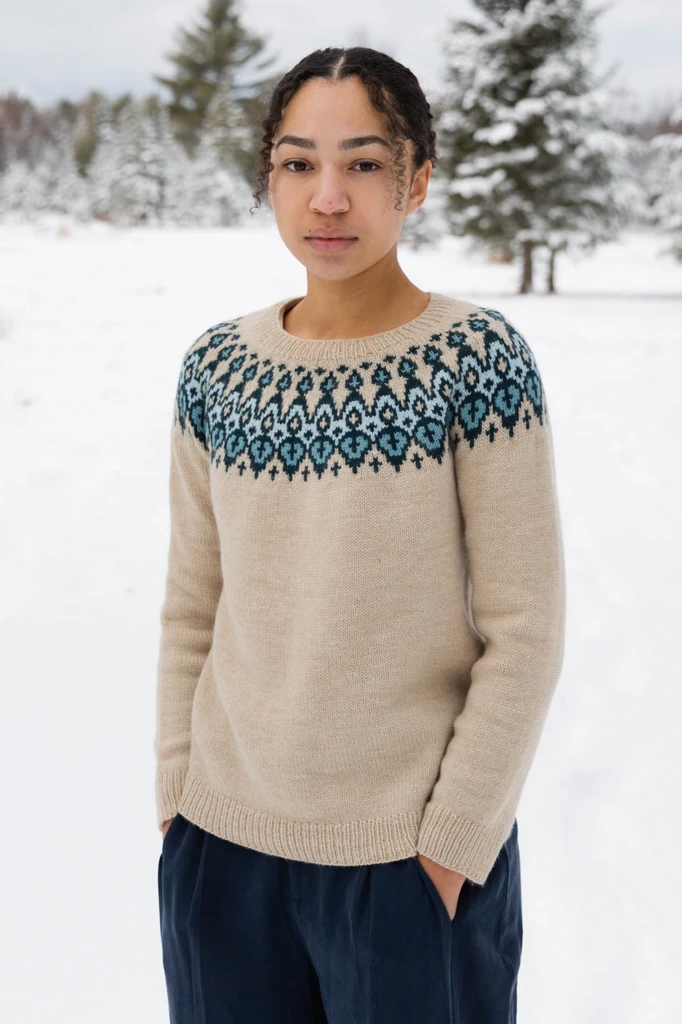 Photo of clayton pullover knitting pattern