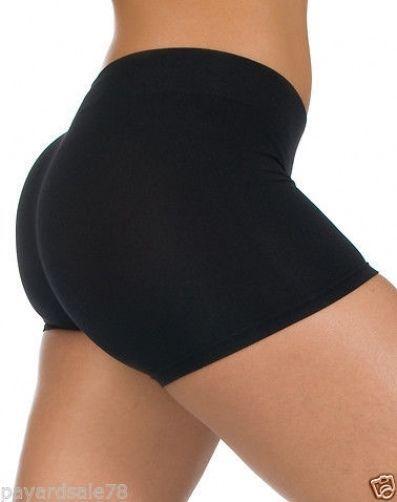 Womens Small Cotton Spandex Booty Shorts Leggings Dance Black Sexy