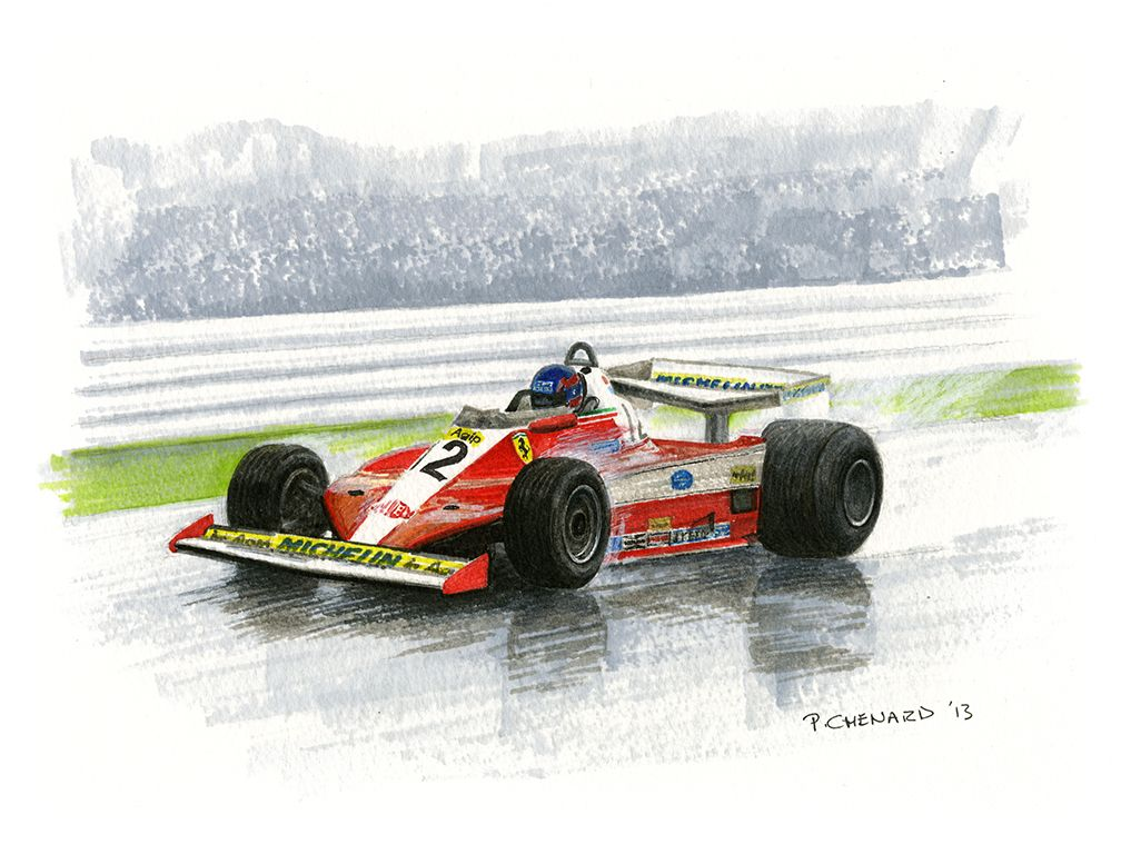 "Gilles Villeneuve on his way to his first Grand Prix win at the 1978 Canadian Grand Prix in the Ferrari 312T3.  Pen&ink and markers on watercolour paper 11.5""x 9"" © Paul Chenard 2013  Original art available, as are limited editions."