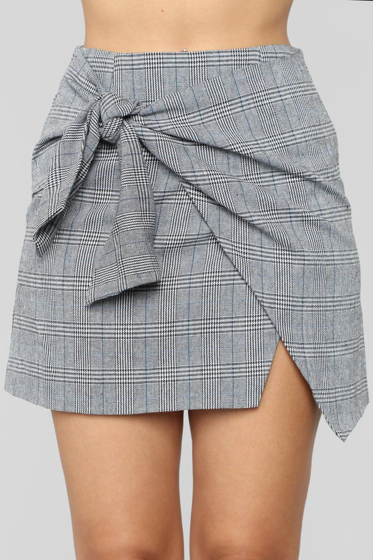 Knot Over You Plaid Skirt Black Blue Pencil Skirt Casual Short Skirts Outfits Fashion Outfits [ 1140 x 760 Pixel ]