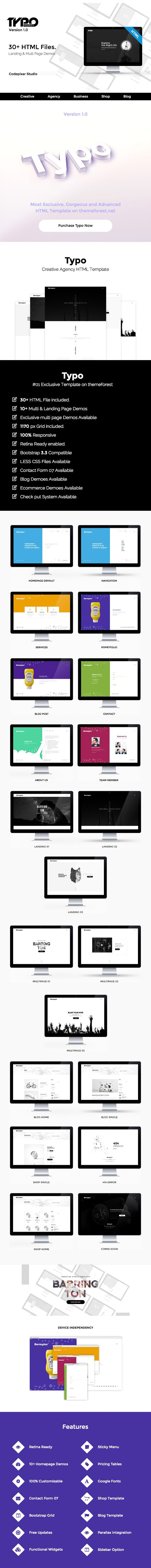 Typo Creative Agency HTML5 Template. Bootstrap Themes | Bootstrap ...
