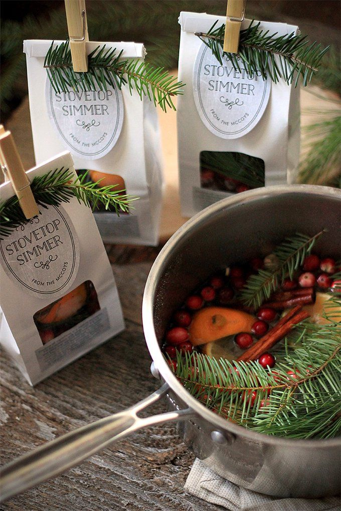 Holiday Stovetop Simmer favors or host/hostess gifts from www.evermine.com  Diy - Holiday Stovetop Simmer Recipe Gifting Diy Christmas Gifts