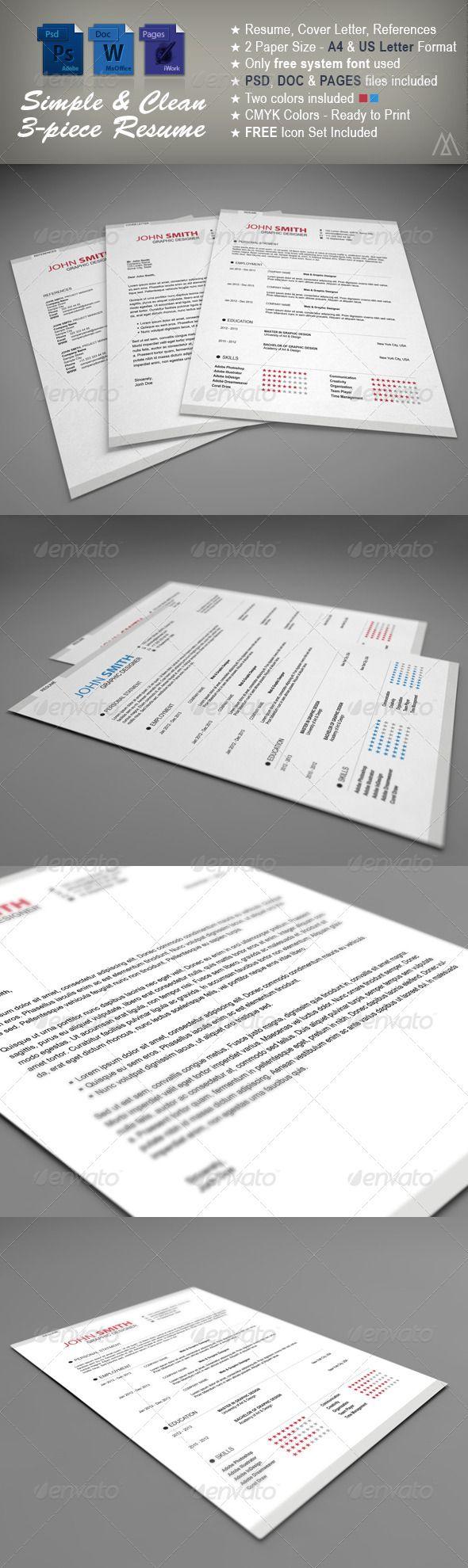 Piece Simple Resume Template  Simple Resume Template Simple