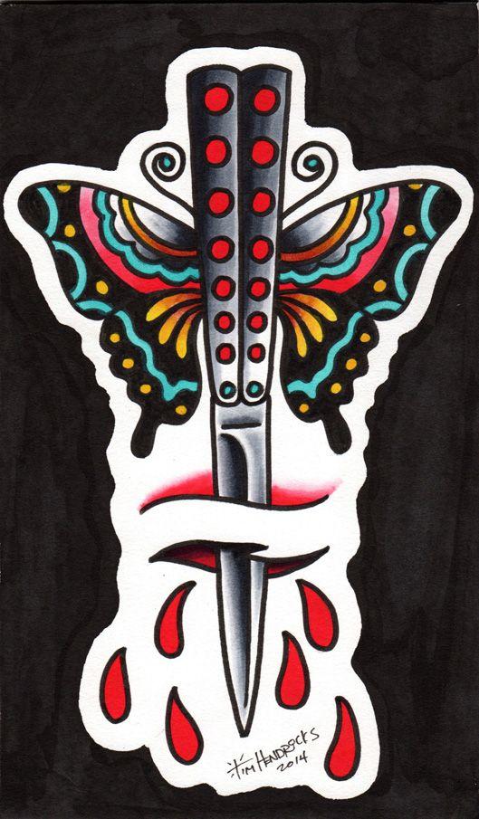 Traditional Butterfly Tattoo Flash: Risultati Immagini Per Butterfly Knife Tattoo