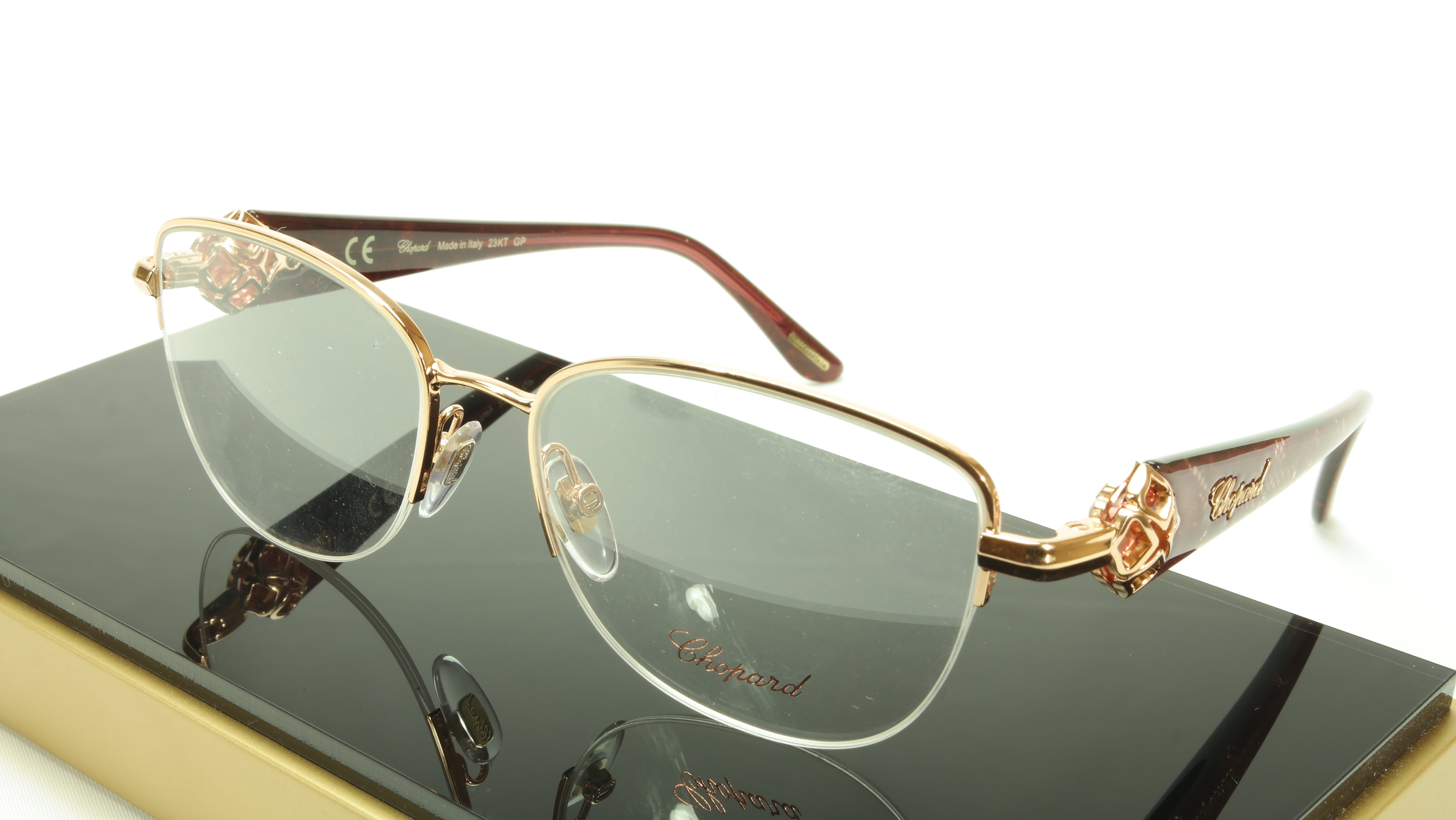 e10a39d228 Chopard Eyeglasses Frame VCH A93S 08FC Acetate Gold Plated Italy Made 53-17 -140
