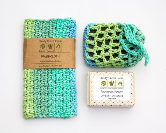 Gift for Women Washcloth Bath Set, All Natural Soap Gift for Her